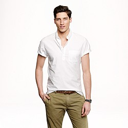 Short-sleeve popover shirt in vintage oxford cloth