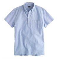 Short-sleeve popover in rustic blue vintage oxford cloth