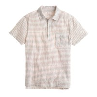 Cotton pocket polo in mountain white stripe