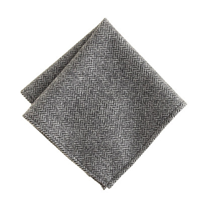 English herringbone wool pocket square