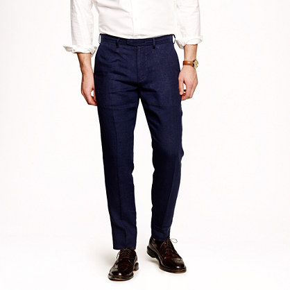 Bowery slim in navy stripe Irish linen