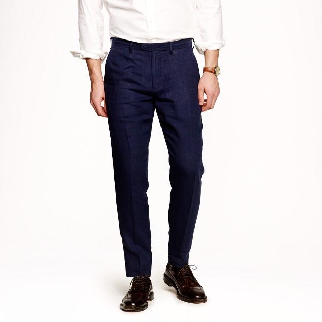 Bowery slim in navy stripe Irish linen