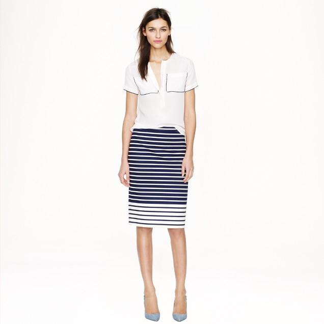 No. 2 pencil skirt in colorblock stripe