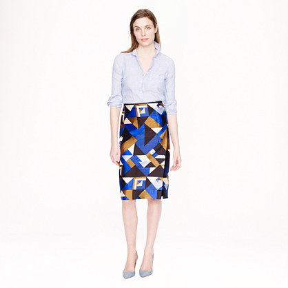Collection pencil wrap skirt in cubist print