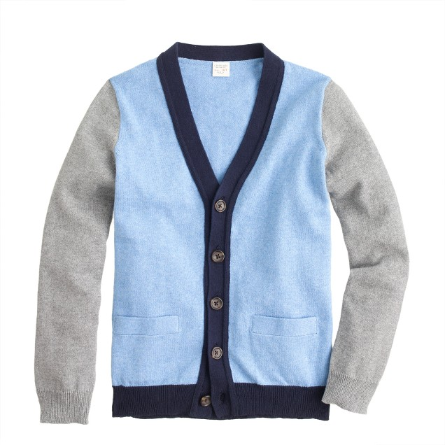 Boys' cotton-cashmere colorblock cardigan