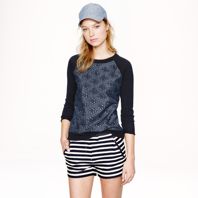 Merino wool sweater in chambray eyelet