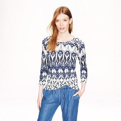 Merino wool baseball sweater in trellis floral