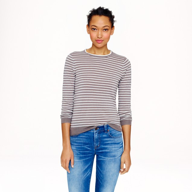 Collection featherweight cashmere long-sleeve T-shirt in stripe