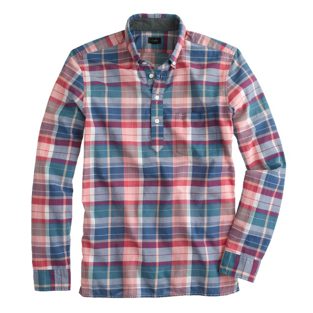 Indian cotton popover in courier blue plaid