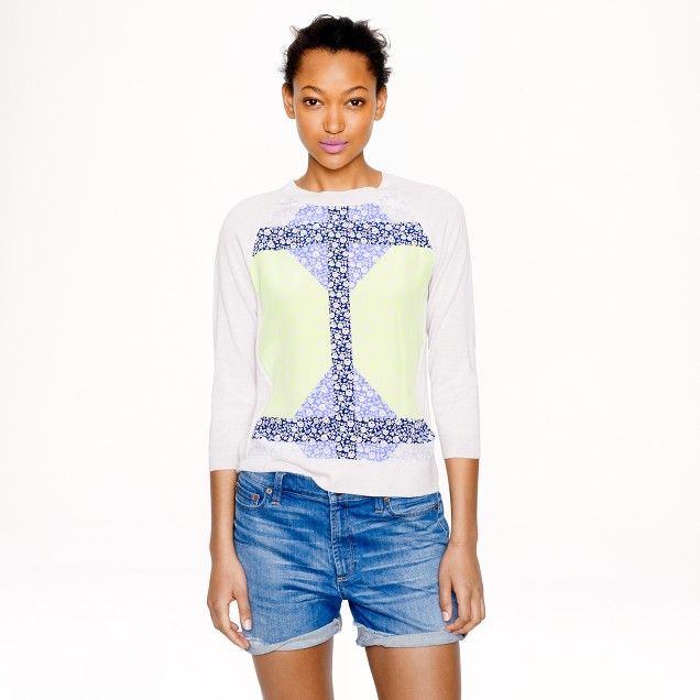 Merino wool silk-panel sweater in windowpane floral