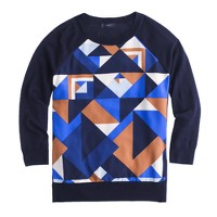 Merino wool silk-panel sweater in cubist print