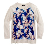 Merino wool silk-panel sweater in antique floral
