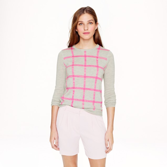 Collection featherweight cashmere long-sleeve T-shirt in grid