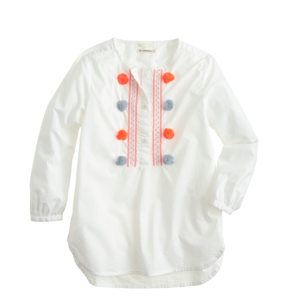 Girls' embroidered pom-pom tunic