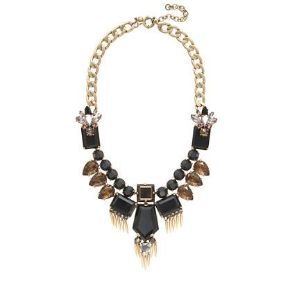 Golden fringe statement necklace