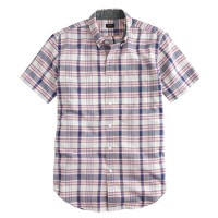 Indian cotton short-sleeve shirt in faded twilight plaid