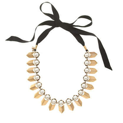 Brass and pearl petal necklace