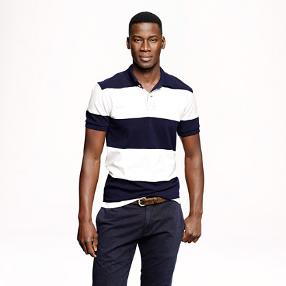 Classic piqué polo in navy rugby stripe