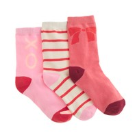 Girls' holiday trouser socks three-pack