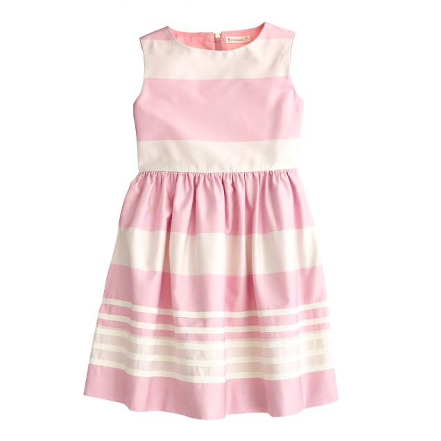 Girls' stripe dress in cotton sateen