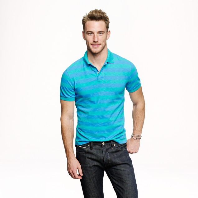 Textured cotton polo in bright surf stripe