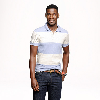 Cotton polo in heathered stripe
