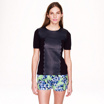 Scallop-leather merino wool T-shirt