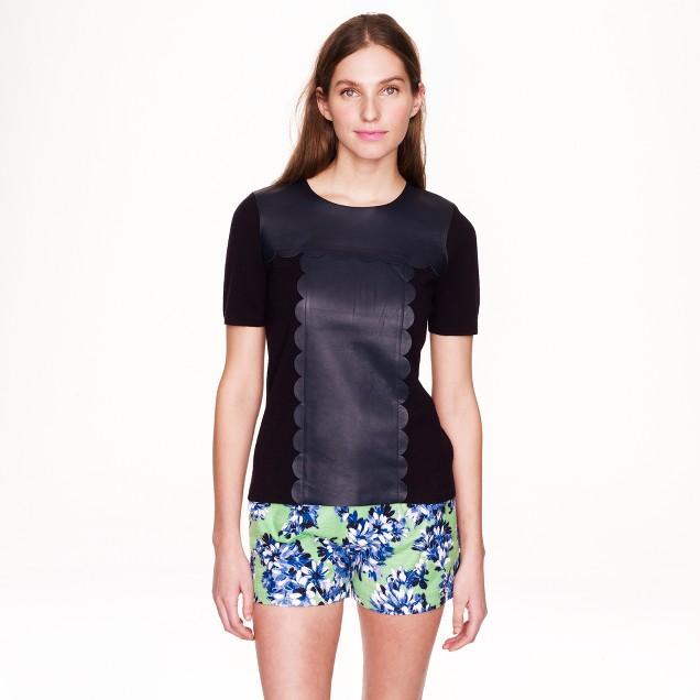 Scallop-leather merino wool T-shirt