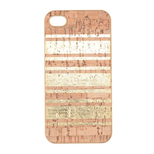 Gold-stripe cork case for iPhone® 4/4S