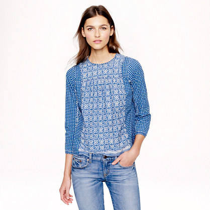Bleached-out indigo top