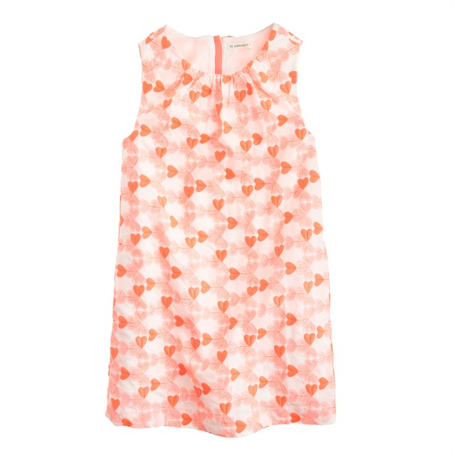 Girls' embroidered neon heart dress