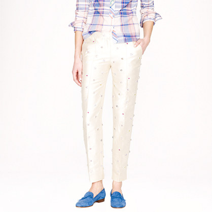 Collection jeweled cropped pant in silk shantung