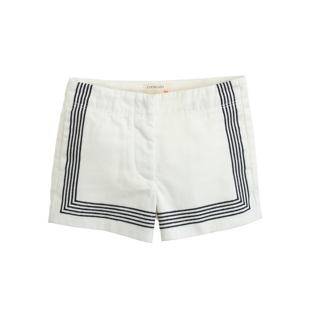 Girls' Frankie short in embroidered stripe