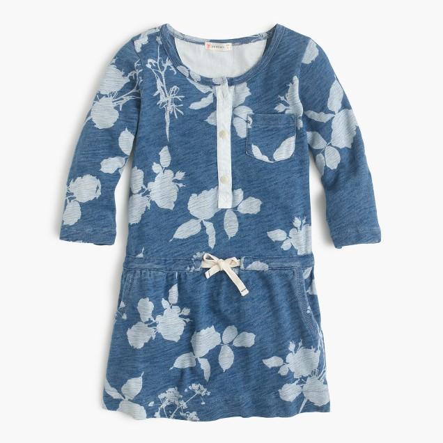 Girls' faded floral pocket dress