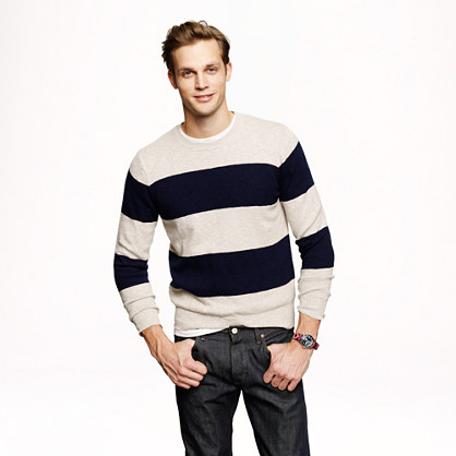 Slim textured cotton sweater in navy stripe