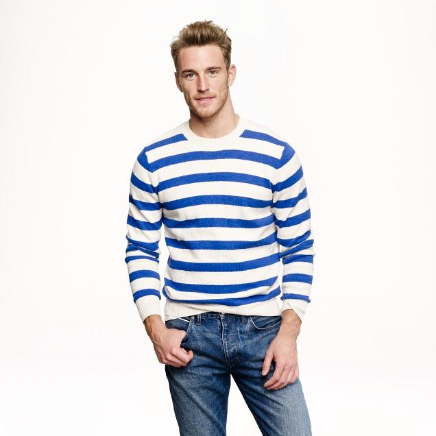 Slim textured cotton sweater in amalfi blue stripe
