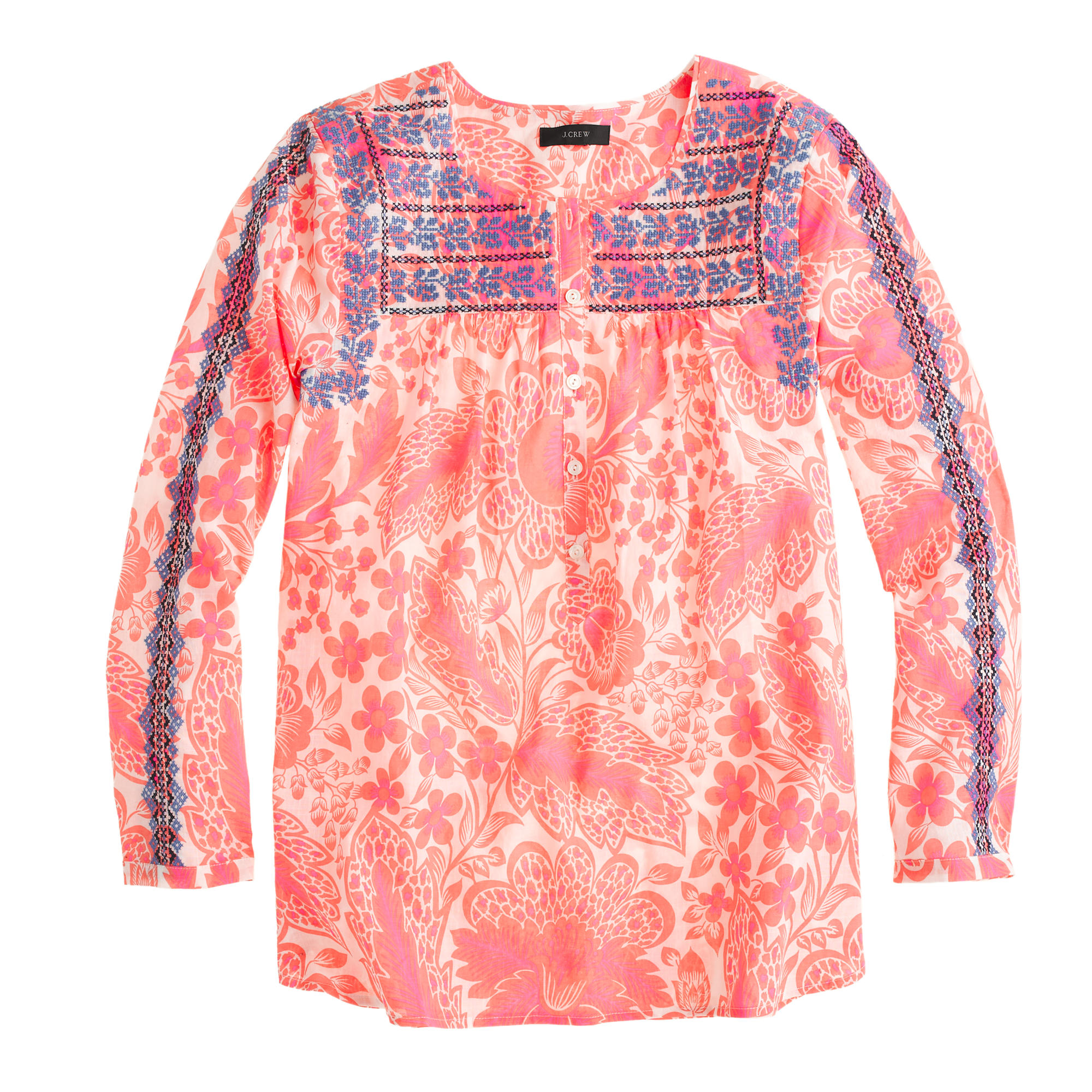 Pink floral embroidered top :