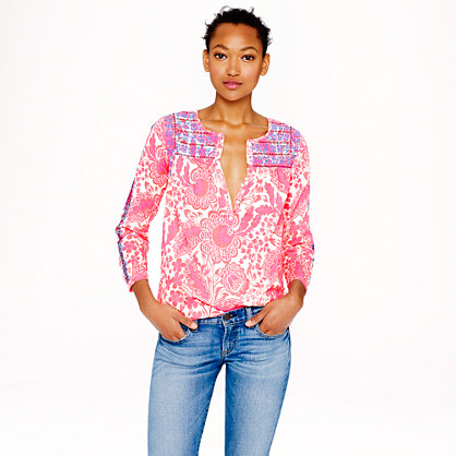Pink floral embroidered top