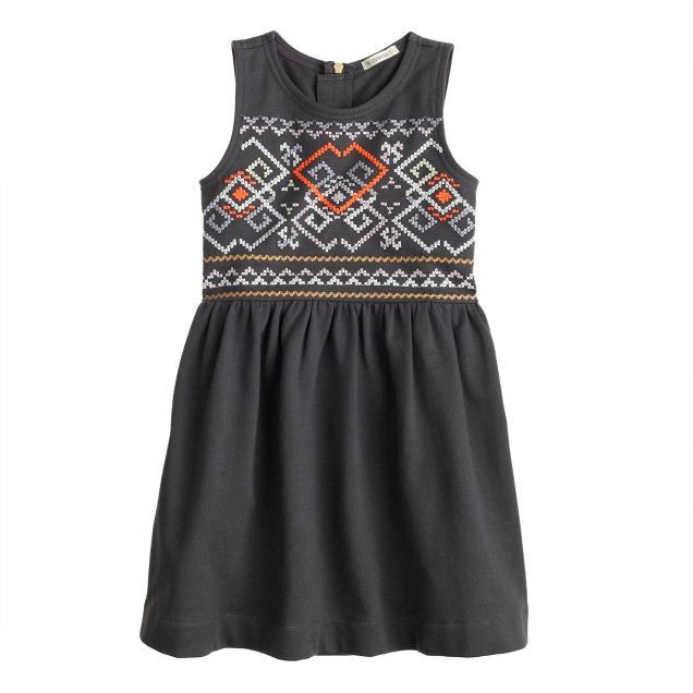 Girls' embroidered tank dress