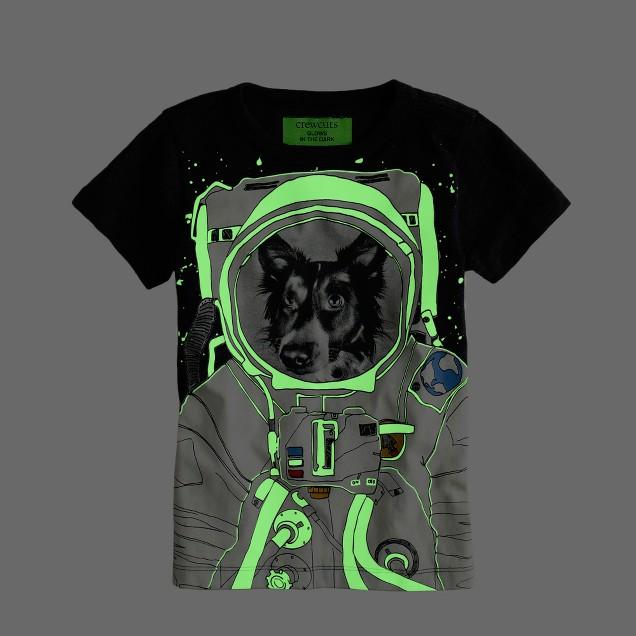Boys' glow-in-the-dark space dog tee