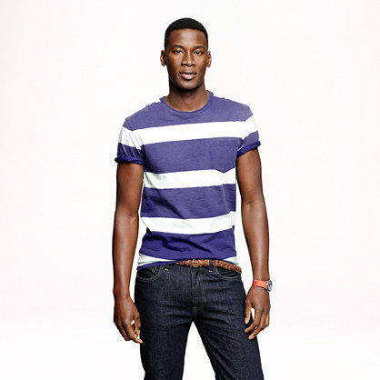 Rugby stripe pocket T-shirt