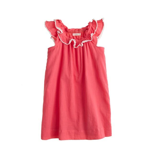 Girls' pom-pom peasant dress
