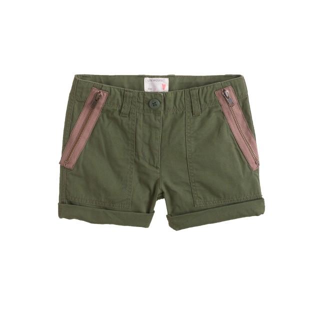 Girls' lightweight zip short