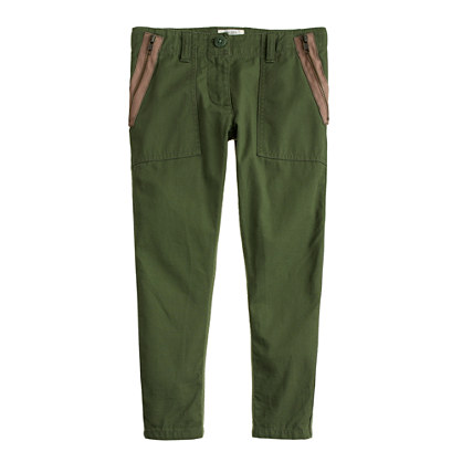 Girls' lightweight side-zip utility pant