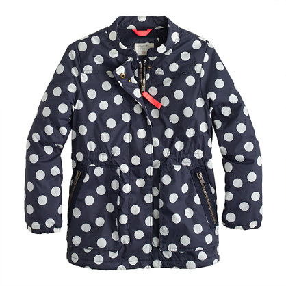 Girls' nylon surplus jacket in polka dot