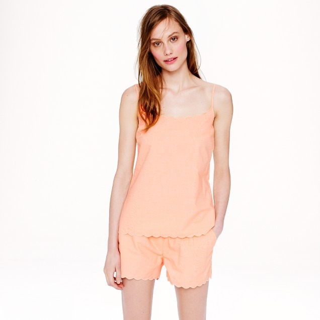 Scalloped pajama short set in end-on-end cotton