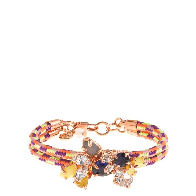 Girls' corded gem cluster bracelet