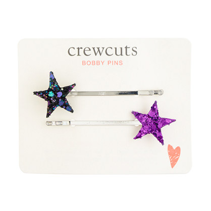 Girls' glitter star bobby pin two-pack