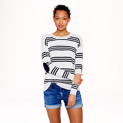 Merino wool triple-stripe elbow-patch sweater