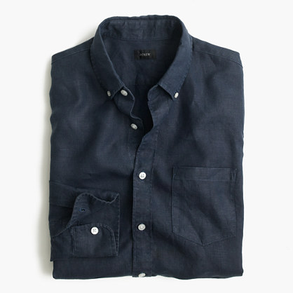 Tall Irish linen shirt in solid